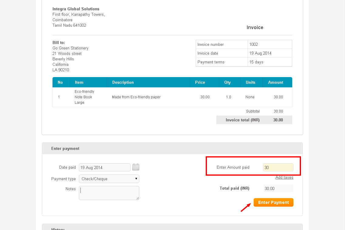 Invoice U0027Historyu0027 Will Display Name Of Handdy Invoices Account Holder And  Name Of Sales Representative Who Has Executed The Sale.  How To Type An Invoice